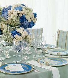 Matrimonio elegante in blu - Tavola fiori