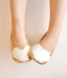 gold metallic slip on ballet flats with hearts for toddler girls
