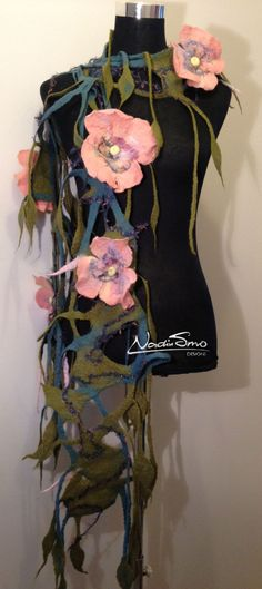 www.nadinsmo.com **PINK LEANNA** -Handmade wool felted scarf ...Flowers ...only flowers ...