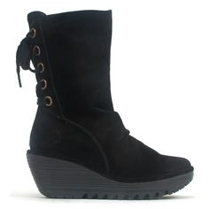 Walk into fall in style with the Yada by Fly London. This sleek boot is made of rich suede leather, and has a trendy back-lace design and a bold deep-tread wedge heel. Featuring a lightweight sole, in