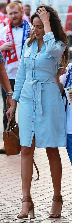 The former Coronation Street actress, looked summery in a baby blue shirt dress as she joined thousands of fans at the Soccer Aid 2016 game. Baby Blue Shirt, Blue Shirt Dress, Soccer Aid, Mark Wright, Michelle Keegan, Bling Wedding, Husband, Actresses, My Style