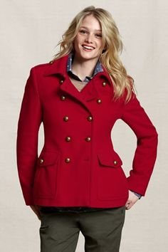 Lands' End Canvas Gifts to Give Her--Heritage Wool Pea Coat $170.00 - love it in navy and red! Maybe they'll do yellow for the spring?!