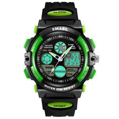 Gaintin Green Big Kids Analog Digital Waterproof Backlight Watch for Boy. Case Diameter:1.65 inches. Multifunctional watches:Alarm, Chronograph, Light,Day,Date,Month Display. Strong and comfortable band. High quality and clear window. The watch is waterproof.