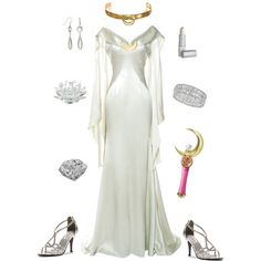 Queen Serenity-Sailor Moon by conquistadorofsorts on Polyvore featuring Zac Posen, Dyeables, GUINEVERE, Lipstick Queen, Waterford and Bandai