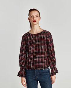 Imagine 2 din TOP DIN TWEED CU DETALII TIP PERLE de pe Zara Tweed, Zara, My Style, Blouse, Long Sleeve, Sleeves, Tops, Women, Fashion