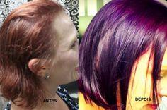 Katia Miyazaki Coiffeur - Salão de Beleza em Floripa: antes e depois - purple hair -  dark purple hair -...