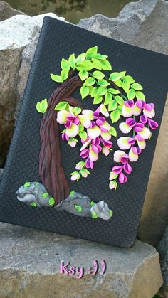 Polymer clay journal.Wisteria journal. secret di BeatifulByKsy