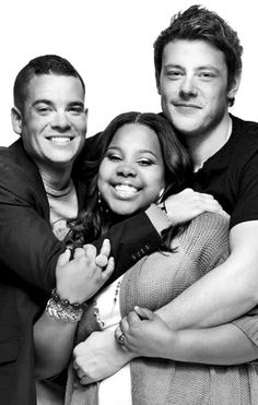 Cory Monteith with Amber Riley and Mark Salling