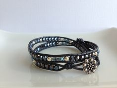 Hematite - black leather - swarovski sparkle -  www.bellamink.com