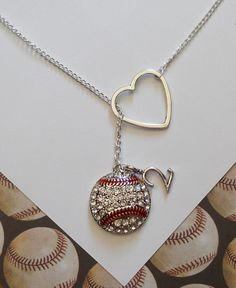 Baseball Lariat Necklace with Rhinestones by MelissaMarieRussell, $27.50