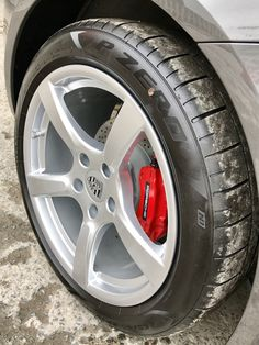 Sprank new Porsche in for brake caliper painting from bland black to Rosso red.  We left the original black and white logo to give it a factory look.