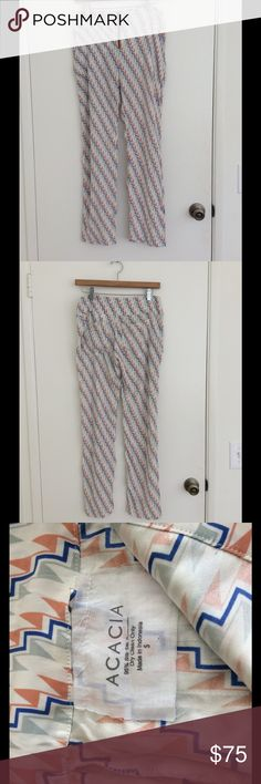 ACACIA SILK ZIGGY PRINT ZIP FRONT PANTS NWOT Size small. 95 Silk 5 spandex. NWOT acacia swimwear Pants