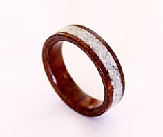 Women's wood ring with crushed shell inlay by ringordering on Etsy