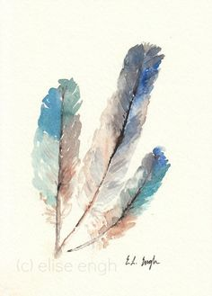 Bird Feathers Original Watercolor Painting 5x7 by GrowCreativeShop, $42.00