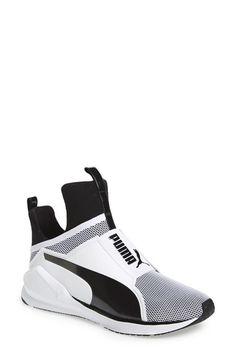 Free shipping and returns on PUMA 'Fierce Core' High Top Sneaker (Women) at Nordstrom.com. PUMA takes street style to the extreme with an architectural shoe that's a high-fashion spin on the classic training sneaker. Bold feminine touches, such as an exaggerated heel and extra-high tongue, update the slip-on silhouette, while a breathable mesh construction and a rubber sole with pivot points at the heel and toe enhance the performance-minded design.