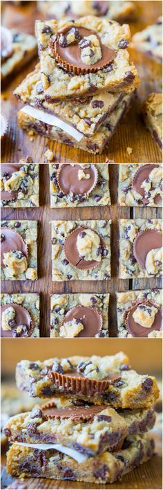Two-Ingredient Peanut Butter Cup Chocolate Chip Cookie Dough Bars (GF) - The easiest bars ever and no one will ever guess it! So good!