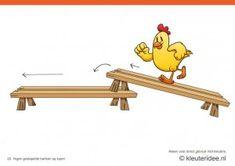 Bewegingskaarten kip voor kleuters 22, Tegen gestapelde banken op lopen , kleuteridee.nl , thema Lente, Movementcards for preschool,  free p...