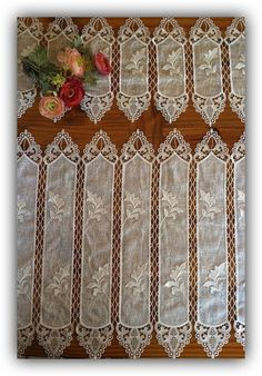 Leaves macrame lace and voile cafe curtains from myfrenchlacecurtains.com