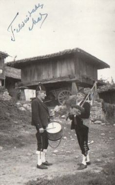 old friends by the old barn.  Spanish pipes and drum.