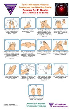 Coronavirus Hand Wash chants for Sci Fi fans. This if for those of us who need something to help us remember how to wash our hands the right way. Tv Series On Netflix, Sci Fi Authors, Sci Fi News, Red Dwarf, Classic Quotes, Babylon 5, Monologues, We Remember, Hand Washing