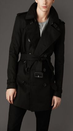 Burberry black trench coats for men