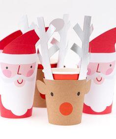 - Set of 8 cups - Paper - 4 santa cups - 4 reindeer cups - Silver foil details