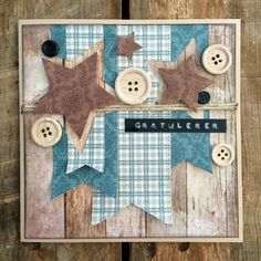 Masculine birthday card with stars and buttons. www.scrappiness.no