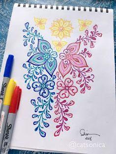 flowery interpretation of the Philippine flag. Sharpie Drawings, Sharpie Doodles, Ink Doodles, Sharpie Art, Filipino Tribal Tattoos, Hawaiian Tribal Tattoos, Zen Doodle Patterns, Doodle Borders, Sharpies