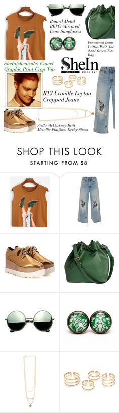 """""""Camel Graphic Print Crop Top"""" by avete ❤ liked on Polyvore featuring R13, STELLA McCARTNEY, Louis Vuitton and Revo"""