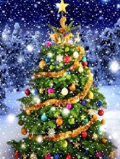 Christmas Tree Gif, Christmas Scenery, Christmas Pictures, Christmas Greetings, Winter Christmas, Vintage Christmas, Christmas Holidays, Christmas Rock, Beautiful Christmas Scenes