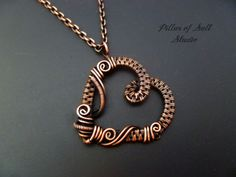 Heart necklace Wire Wrapped pendant / copper necklace by PillarOfSaltStudio