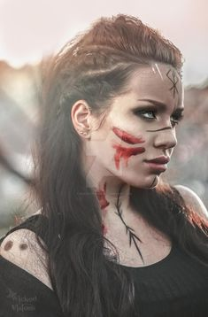 Valkyrie by IkuLestrange on DeviantArt Maquillage Halloween, Halloween Makeup, Halloween Night, Viking Warrior Woman, Warrior Women, Viking Life, Viking Makeup, Warrior Makeup, Arte Viking