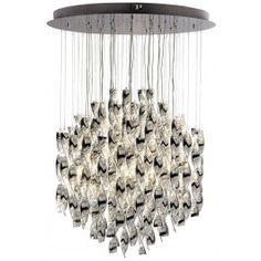 Elegant 12 lights eye-shape base crystal chandeliers lighting with special twisting crystal hanging