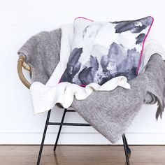 Pink Ink Cushion Digitally Printed Cushion Cover by SqueakDesign Butterfly Chair, Dear Santa, Beautiful Interiors, Soft Furnishings, Cushion Covers, Tea Towels, Cool Stuff, Stuff To Buy, Melbourne