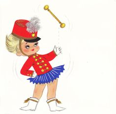 A vintage baton twirling cutie. #vintage #illustrations