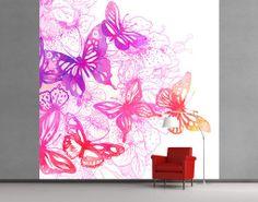 Fleece Wall Mural Butterfly Dream  Romance Pattern Spring Flowers Blossoms