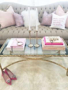 A little too pink for me but I love the idea of pastels and soft neutrals with a touch of gold