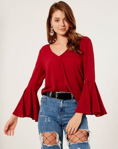 Flare Sleeve Bow Back Top