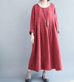Robe de grande taille de coton Loose Fitting Maxi robe par MaLieb