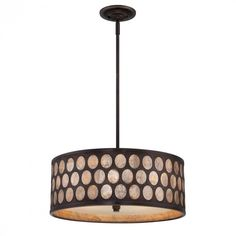 Quoizel Lighting - 4-light drum shade pendant in a palladian bronze finish with capiz shell accent.  Reg. Price 756.20 Our Price $397.99