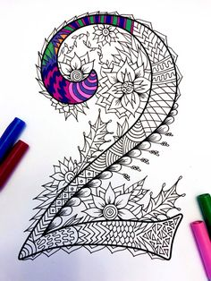 Number 2 Zentangle Inspired by the font Harrington von DJPenscript