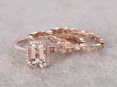 3pcs Emerald Cut Morganite Wedding Set Full Eternity Diamond Bridal Ring 14k Rose Gold Art Deco Antique Band
