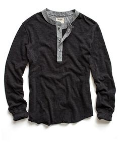 Black Henley with Chambray Collar and Placket - Todd Snyder