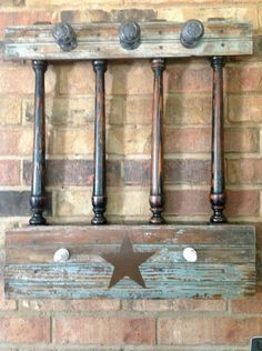 old bead board and old spindles to create a hat or coat rack Stair Spindles, Porch Railings, Porch Columns, Spindle Crafts, Wood Crafts, Country Furniture, Diy Furniture, Bright Paintings, Texas Star