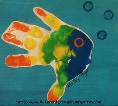 A Differentiated Kindergarten: handprint fish-for FISH Philosophy Differentiated Kindergarten, Kindergarten Crafts, Preschool Activities, Under The Sea Images, Under The Sea Animals, Classroom Art Projects, Classroom Fun, Fish Philosophy, Fish Handprint