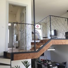 Moderne balustrade in Rotterdam Balcony Railing Design, Staircase Design, Loft Stairs, Space Architecture, Home Living Room, Home Interior Design, New Homes, House Styles, Rotterdam Netherlands