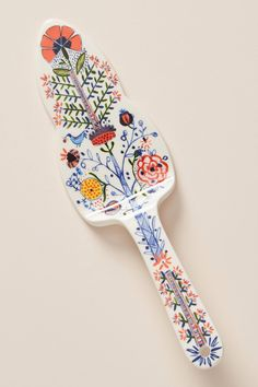 Marian Cake Knife by Anthropologie in Red, Flatware Isle Of Man, Ceramic Painting, Ceramic Art, Pottery Painting, Motif Floral, Floral Design, Malta, Highlands, Style Marocain