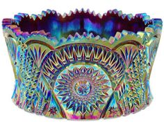 Carnival Glass - Large Diamond Cut Fruit Bowl - I love to collect carnival glass!
