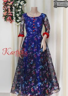Best 12 floral organza long gown call or whatsapp at 09483056990 Salwar Designs, Kurti Designs Party Wear, Long Dress Design, Dress Neck Designs, Blouse Designs, Frock Fashion, Fashion Dresses, Fasion, Long Gown Dress