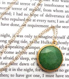 Long Green Jade Pendant Gold Necklace by MooseAndNigel on Etsy